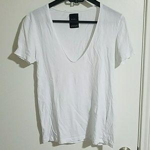 ZARA low v neck white tshirt